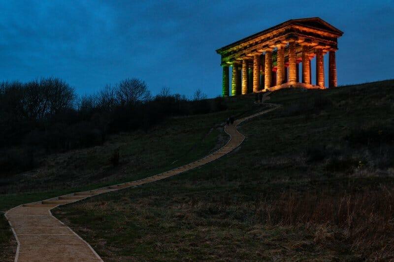 Penshaw Monument Illuminated at Twilight Houghton-Le-Spring